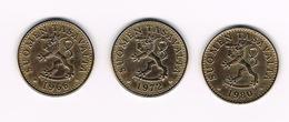 -&  FINLAND  3 X 20 PENNIA  1966/72/80 - Finlande
