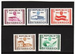 AUA1293  ÖSTERREICH  1955  Michl 1012/16 KATALOG 60,00 € ** Postfrisch SIEHE ABBILDUNG - 1945-.... 2. Republik
