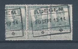060/27 - Invasion Allemande - RARE Bande De 3 TP Pellens Cachet De Gare ADEGEM 20 Sept. 1914 - Lijn BRUGGE / GENT - WW I