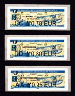 Atm-Lisa / Lot 0.78, 0.80, 0.95 € BROTHER / 90ème Anniversaire De L'Académie De Philatélie / Paris-Philex 2018 - 2010-... Illustrated Franking Labels