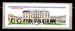 Atm-Lisa / Ecopli  CC 0.78 € Nabanco / 91 ème Congrès FFAP, Palais De L'Elysée / Paris-Philex 2018 - 2010-... Illustrated Franking Labels