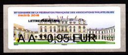Atm-Lisa / Lettre Prio  AA 0,95 € Nabanco / 91 ème Congrès FFAP, Palais De L'Elysée / Paris-Philex 2018 - 2010-... Illustrated Franking Labels