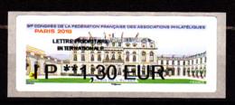 Atm-Lisa / Lettre Prio Monde  IP 1.30 € Nabanco / 91 ème Congrès FFAP, Palais De L'Elysée / Paris-Philex 2018 - 2010-... Illustrated Franking Labels