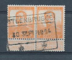 061/27 - Invasion Allemande - RARE Paire TP Pellens Cachet De Gare STEENBRUGGE 30 Sept. 1914 - Lijn BRUGGE / GENT - Invasion