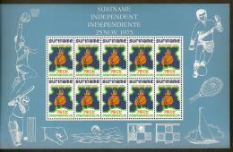 Suriname 1975 Velletje 704 Onafhankelijkheid - Independence Sheet 12x75ct MNH/**/Postfris - Surinam