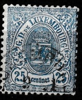 Luxembourg 1875 - Mi. 33 Yvert 32,  25c Schmalrandig, Gestempelt. - 1859-1880 Coat Of Arms