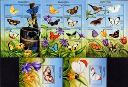 Lesotho - 2001 - Butterflies - 3 Mint Stamp Sheetlets + 2 Souvenir Sheets - Lesotho (1966-...)