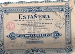 """LOT DE 20 ACTIONS """"ESTANERA"""" COMPAGNIE INTERNATIONALE MINIERE -ETAIN - CATEGORIE B --1928 - Eau"""