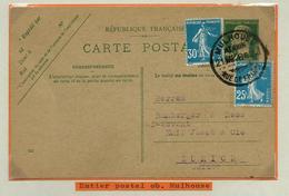 Louis Pasteur : Entier-postal N°: 172-CP1  Obl. Mulhouse 21/03/1928  Pour Zurich (CH) - Colis Postaux