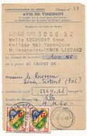FRANCE - 2 Avis De Virement Affranchis 15F Blason D'Alger X2 - HENIN LIETARD (PdC) 1960 - France