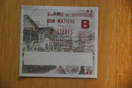 Rationnement - Bon Matiere 2steres De Bois De Feu Rare Non Utilise - Historische Documenten