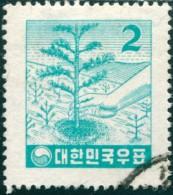 Korea South 1957 SG273 2h Light Blue Tree-planting FU - Corea Del Sud