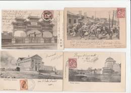 4 CPA:CHINE PEKING PORTE PALAIS IMPÉRIAL,TRAIN TAKU PEKING ENDSTATION,MILITAIRES AVEC ARMES,STADTHOR - Chine