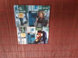 Set 2 Phonecards Belgium Pay-Phone Used Only 70.000 Ex Rare - Belgium