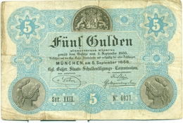 ROYAUME DE BAVIERE - 5 FLORINS - 1866 - [ 1] …-1871 : Etats Allemands