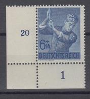 Dt. Reich 852 Eckrand Links Unten 8 Jahre Arbeitsdienst 6+ 14 Pf Postfrisch - Allemagne