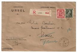 URSEL - Recommandé 1939 - Enveloppe Gemeente URSEL - Voir Scan - Marcophilie