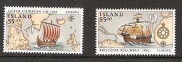 Iceland 1992 Europa: Ships, Leifur Eriksson, Kristoffer Kolumbus, Discovery Of America Mi 762-763, MNH(**) - 1944-... Republik