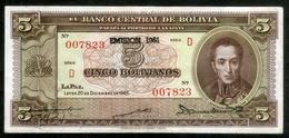 """BOLIVIA BILLETES; 5 Bs 1945, CON SOBRE SELLO """"EMISIÓN 1951"""". - Bolivia"""