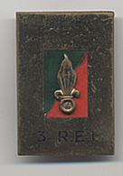 J24 LEGION ETRANGERE 3° REI LEGIO PATRIA NOSTRA EMAIL GUILLOCHE ORIGINAL FRENCH FOREIGN LEGION BADGE - Army