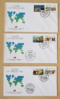 NATIONS UNIES Musique, Musica, Music, 3 FDC,  1 Er Jour. Complet New York, Geneve, Vienne : 23/10/1987 - Musik