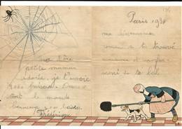 BÉCASSINE PAPIER à LETTRES Chasse Les Araignées Avec L'aide De Toutou SACRÉE BÉCASSINE ÉCRIT 1934 BON ETAT - Old Paper