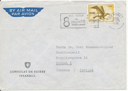 Turkey Air Mail Cover Sent To Switzerland 17-12-1960 (Consulat De Suisse Istanbul) Single Stamped - 1921-... Republic