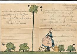 BÉCASSINE PAPIER à LETTRES A Trop Arrosé Son Chou Chou ! Toutou à Peur  SACRÉE BÉCASSINE ÉCRIT 1934 BON ETAT - Old Paper