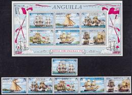 F0107 ANGUILLA 1976, SG 255-MS261  Bicentenary Battle Of Anguilla, Ships,  MNH - Anguilla (1968-...)