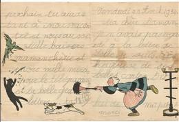 BÉCASSINE PAPIER à LETTRES Défend Perroquet Chassé Par Le Chat Chassé Par Toutou... SACRÉE BÉCASSINE ÉCRIT 1934 BON ETAT - Old Paper