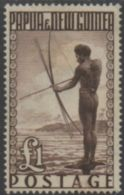 Papua New Guinea 1952 SG15 ₤1 Papuan Fisherman MH - Papua-Neuguinea