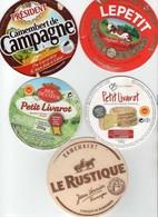 5 ETIQUETTES FROMAGE Camembert & Petit Livarot  *Le Rustique  *Président  *Le Petit  *Duc De Coeur  *Marché Franprix - Quesos