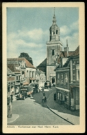 Nederland Ansichtkaart Almelo Kerkstraat Met Ned, Herv, Kerk Ongebruikt Reclame 't Groendal - Almelo
