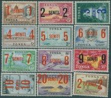 Tonga 1968 SG228-239 Surcharges Set Of 12 MLH - Tonga (...-1970)
