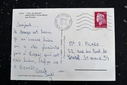 COZES - CHARENTE MARITIME - FLAMME MUETTE SUR MARIANNE CHEFFER - MESCHERS LES GROTTES FILET CARRELET PECHE - Marcophilie (Lettres)