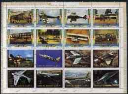 507 Umm Al Qiwain 1972 Aircraft Sheetlet Containing 16 Values Unmounted Mint, Mi 1274-89A (aviation Concorde Boeing 747) - Umm Al-Qiwain