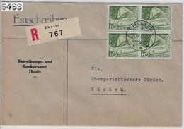 1951 Charge (Betreibung- U. Konkursamt) 299/531 4er Block Thusis To Zürich 23.VII.51 - Suisse