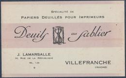 Villefranche.J.Lamarsalle, Papier Deuillés Pour Imprimeurs.Carte Commerciale - Imprimerie & Papeterie