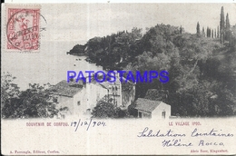 97542 GREECE CORFOU THE VILLAGE IPSO CIRCULATED TO URUGUAY POSTAL STATIONERY POSTCARD - Greece