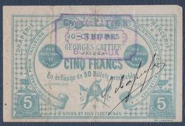 Georges Cattier à Bordeaux.Billet De Cinq Francs.Draperie-Mercerie.Fournitures Pour Tailleurs. - Vintage Clothes & Linen