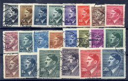 BOHEMIA & MORAVIA 1942 Hitler Definitive Set Used.  Michel 89-110 - Bohemia & Moravia