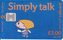 IRELAND - Simply Talk 3 Pounds(3.81 Euro), Chip SC7, Used - Ireland