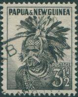 Papua New Guinea 1958 SG6a 3½d Black Papuan Head-dress FU - Papouasie-Nouvelle-Guinée