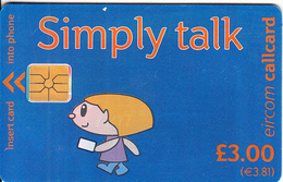 IRELAND - Simply Talk 3 Pounds(3.81 Euro), Chip GEM1.1(overprint), Used - Ireland