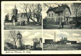Gruss Aus Alzenau Brieg Kirche Pfarrhaus Kartffelflocken Fabrik Dorfpartie Carl Groger  Carte Décollée Ungestaute Karte - Autres