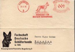 CARTE NON POSTALE 1936 - EMPREINTE DE MACHINE A AFFRANCHIR - CHIEN DE BERGER ALLEMAND - - Hunde