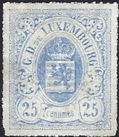 """Armoires De L'Etat 1865, 25C Neuf, Outremer, Papier Fin, """"3 Variétés Très Râres"""" Michel 2017: 20b (2scans) - 1859-1880 Wappen & Heraldik"""