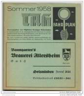 Fahrplan - TAH Sommer 1958 - Oberwesergebiet Von Hann. Münden Bis Bodenwerder - Europe