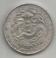 Cina, Impero, Yun Nan Province, 7 Mace And 2 Candareens, Weight 20,60 Gr., Diametro 39 Mm. - Cina