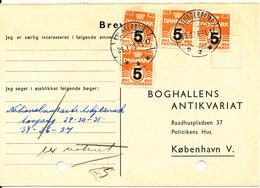 Denmark Lettercard Stubbeköbing 28-1-1956 Overprinted Stamps (archive Holes On The Card) - Dänemark
